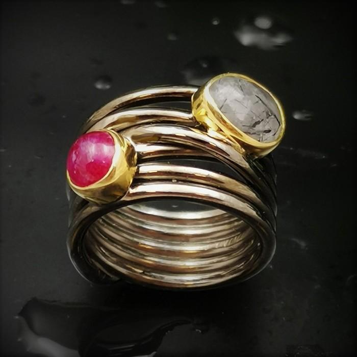 Δ02225 Δαχτυλίδι, χειροποίητο, ασήμι 925 τυλιγμένο σύρμα και ημιπολύτιμοι λίθοι. ΔΑΧΤΥΛΙΔΙΑ ΑΣΗΜΙ 925