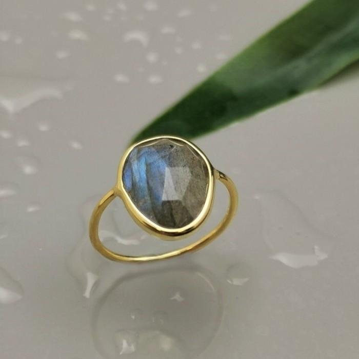 Δ02514 Δαχτυλίδι χειροποίητο, ασήμι 925, επιχρυσωμένο 18Κ, με free size ημιπολύτιμο λίθο ΔΑΧΤΥΛΙΔΙΑ ΑΣΗΜΙ 925