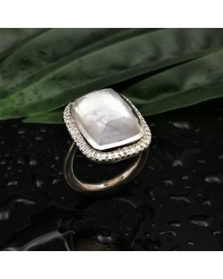 Δ02520 Δαχτυλίδι, ασήμι 925, επιχρυσωμένο 18Κ με Doublet ημιπολύτιμους λίθους