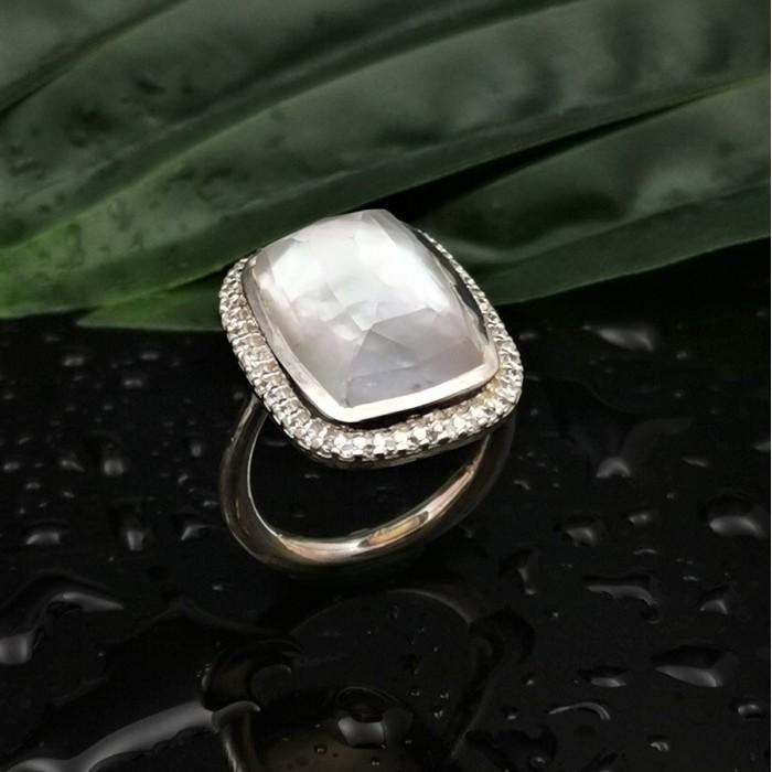 Δ02520 Δαχτυλίδι, ασήμι 925, επιχρυσωμένο 18Κ με Doublet ημιπολύτιμους λίθους ΔΑΧΤΥΛΙΔΙΑ ΑΣΗΜΙ 925