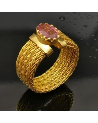 Δ02871 Δαχτυλίδι χειροποίητο, ασήμι 925 με Ρουβελίτη
