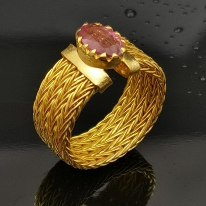 Δ02871 Δαχτυλίδι χειροποίητο, ασήμι 925 με Ρουβελίτη ΔΑΧΤΥΛΙΔΙΑ ΑΣΗΜΙ 925