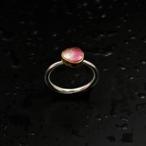Δ03197 Δαχτυλίδι χειροποίητο, από ασήμι 925 με free size Τουρμαλίνη