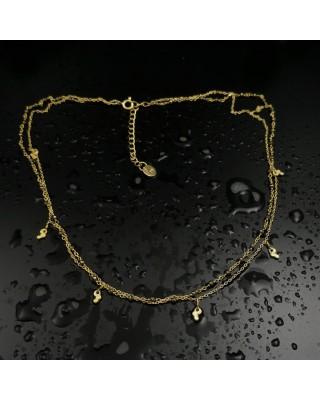 ΚΛΠ01309 Κολιέ ασήμι 925 επιχρυσωμένο, διπλό, αλυσίδα και ροζάριο.