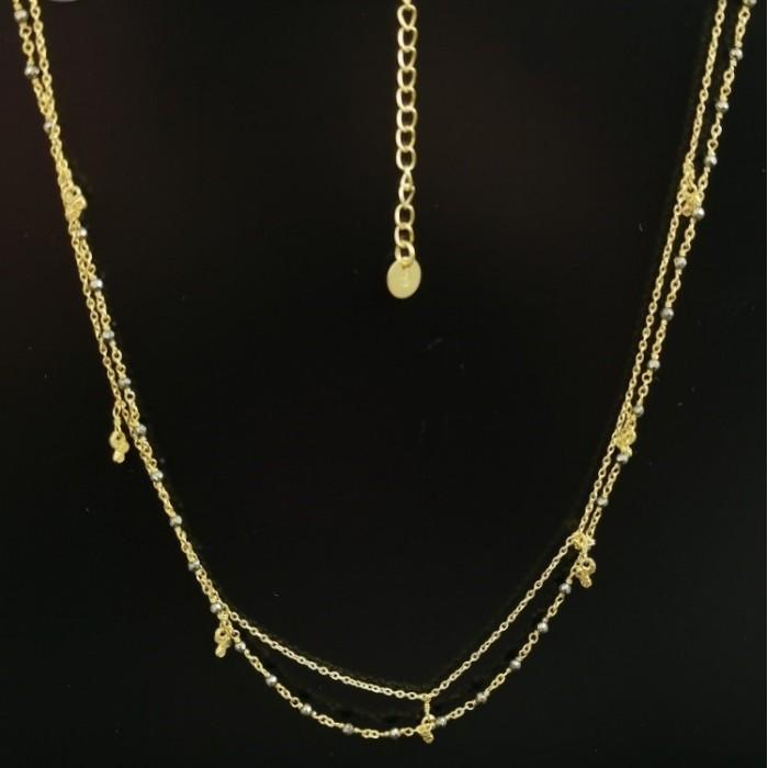 ΚΛΠ01309 Κολιέ ασήμι 925 επιχρυσωμένο, διπλό, αλυσίδα και ροζάριο. ΚΟΛΙΕ ΑΣΗΜΙ 925