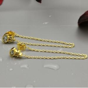 ΣΚ03876 Σκουλαρίκια, ασήμι 925, καρφωτά με ημιπολύτιμους λίθους και κρεμαστή αλυσίδα στο κούμπωμα